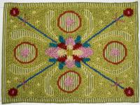 Mossa, broderad och knuten rya på vävd botten, 100% ullgarn. Foto Bo Arrhed. Mer info www.hemslojden.org