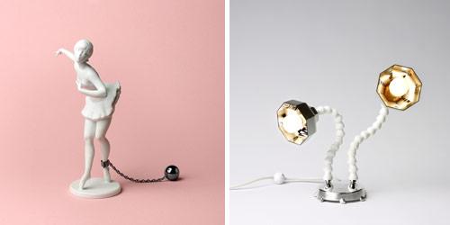 """Till vänster """"Be nice"""" av Åsa Lockner, till höger lampa av David Tylor. (Foto Röhsska museet)"""