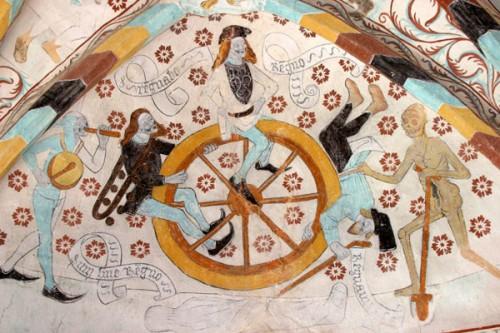 Albertus Pictor... det finns mycket att plocka från den medeltida kyrkomålaren. Här Livets hjul (en variant av livstrappan), ett annat coolt val är bilden när riddaren spelar schack med döden).