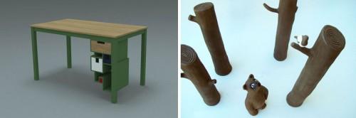 Mattias Larssons bord med utbytbara och omflyttbara lådor till höger och Ida Anderssons verk Fabler. (Foto Mattias Larsson och Ida Andersson)