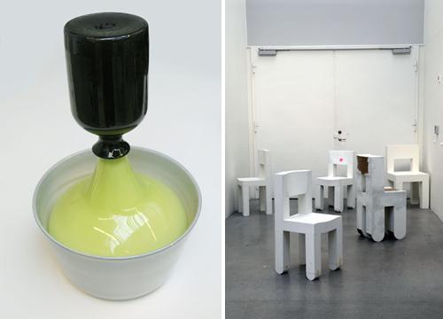 Till vänster, Simon Klenell, Keramik och glas 2009. Till höger Anton Alvarez, Inredningsarkitektur och möbeldesign. (Foto Konstfack)