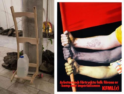 Slöjdkollektivet till vänster och affisch från Nordiska Museets proggutställning till höger.