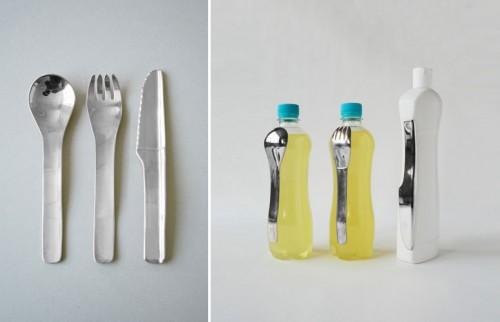 Oscar Diaz gör bestick från återvunna plastförpackningar. Smart! (Foto www.