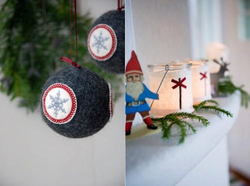 Tovade julkulor och lyktor från Carina Brorsson, nu hos Cosas. (Foto Cosas)