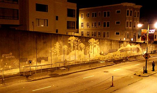 """Paul Moose Curtis är också en av de intervjuade i min bok. Han gör städgraffiti och ställer frågan """"är det verkligen olagligt att städa offentligt?"""" (Foto Paul Moose Curtis)"""