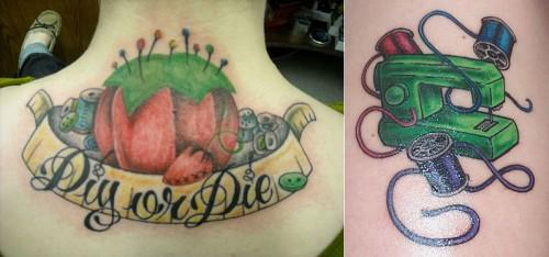 Jhonnybeeappleeseeds tatuering till vänster och Catchy one-liners till höger. (Foto Flickr/Jhonnybeeappleeseed och Catchy one-liner)