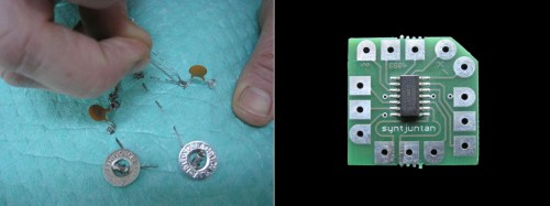 Kretskort, dioder, batteri, nål och tråd. Samt lite förstärkare och sånt förstås; men det ska i princip vara allt som behövs... (Foto www.syntjuntan.se)