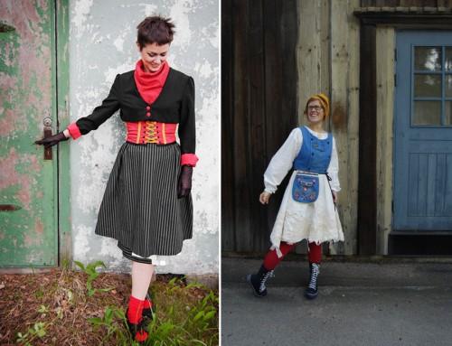 Karin Granstrand, Steneby, med Smålands dräkt tv. Annika Wahlström, Steneby, med Västergötlands dräkt th. (Foto www.svenskaturistforeningen.se)