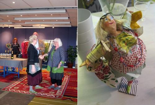 Dorothea Siegert-Binder fick ett hedersomnämnande för sina fascinerande skultpurer. Till vänster syns hennes skultpur av Gudrun Sjödén. (Foto Kurbits)