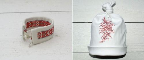 Armband med dräktband samt egendesignad kurbits på babymössa. (Foto www.sisdesign.se)