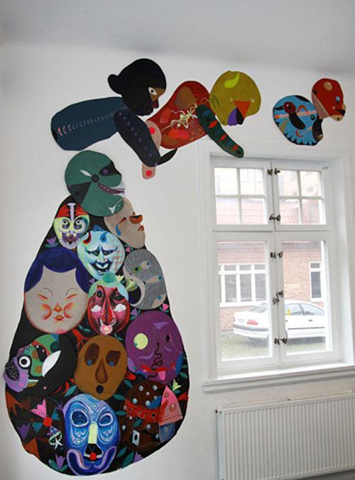 Väggmålning av Kyle Ranson och Oliver Halsman Rosenberg på Galleri Krets just nu. (Foto www.krets.info)