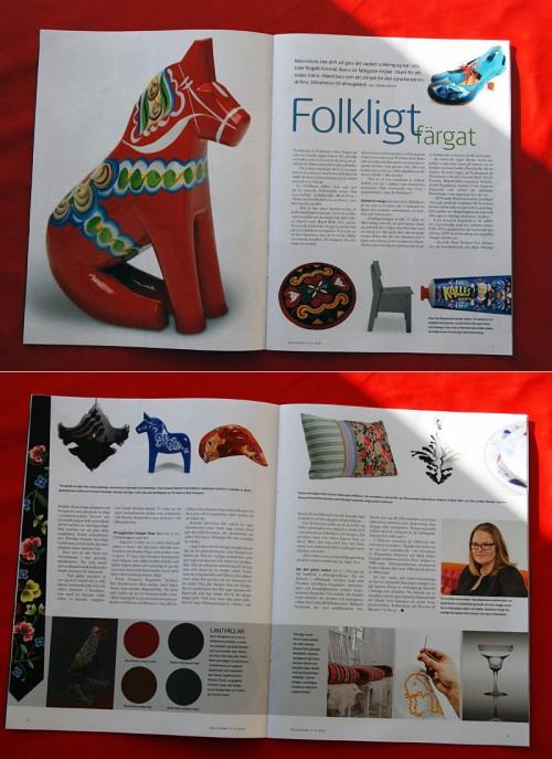 Artikeln Folkligt färgat av Johan Igetoft i senaste Alcrobladet. (Foto av uppslaget Kurbits)