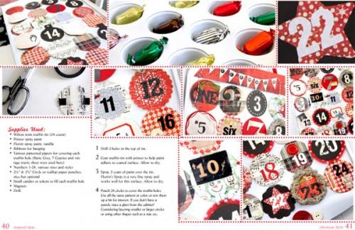 Detaljerad beskrivning på adventskalender. (Copyright Från bloggen Inspire co kommer webbtidningen med julpyssel. Här fiDetaljerad beskrivning på adventskalender. (Copyright http://inspireco.blogspot.com/2010/11/inspired-ideas-christmas-issue.html)