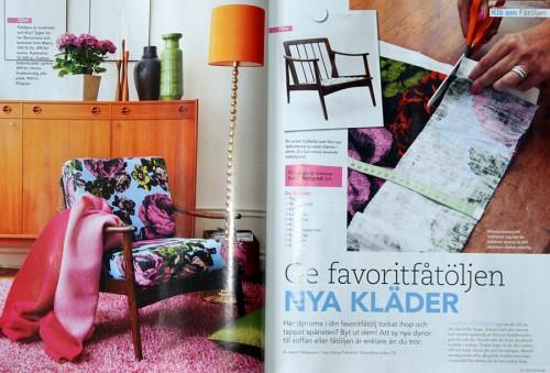 Klä om dina möbler - beskrivning ur senaste numret av 101 nya idéer. (Foto Uppslag ur 101 idéer)