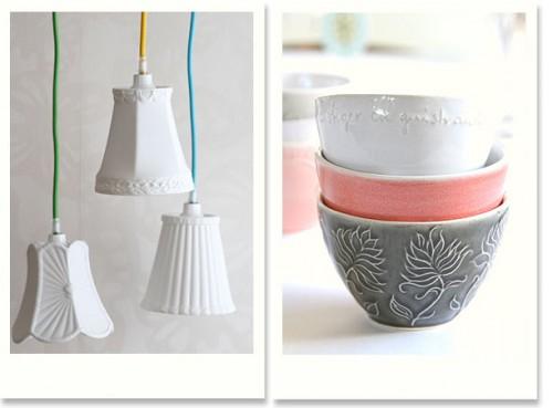 Grannylamporna i porslin är en oerhörd favorit, liksom skålarna, Cosas samarbete med keramikerna i K2. (Foto Cosas)