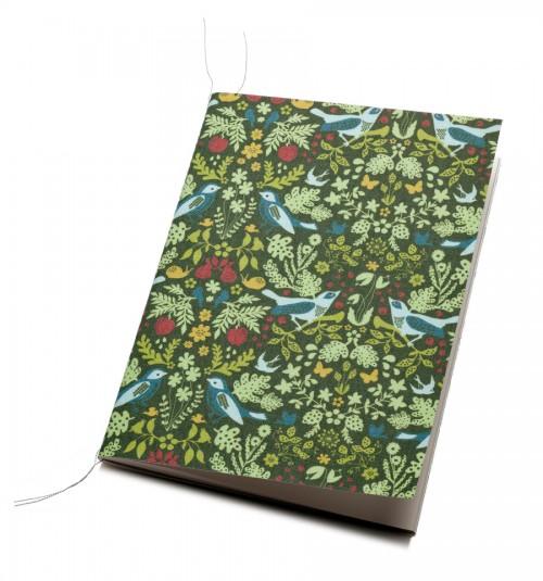 Mönstret Bickering Birds på skrivbok. (Foto Papp Limited)