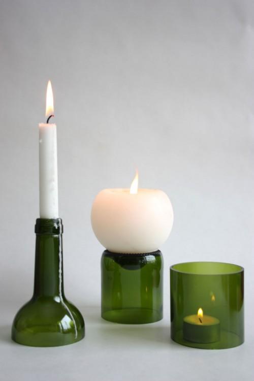 Återanvända flaskor blir vackra ljusstakar, glas och vaser. Från Linn Bjelkne Design For Life. (Foto Linn Bjelkne)