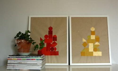 Handtryckta affischer från Rio Rio, motivet Building Blocks i rött och gult. (Foto Rio Rio)