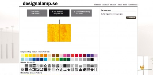 En träådrad lampa i gulmönstrad akrylplast tack. Hos företaget Designalamp kan du själv sätta ihop din lampa.