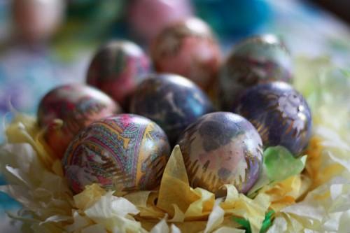 Här är ägg som Aunt Peaches dekorerat med slipsar. Fantastiskt fina, eller hur? (Foto Aunt Peaches)