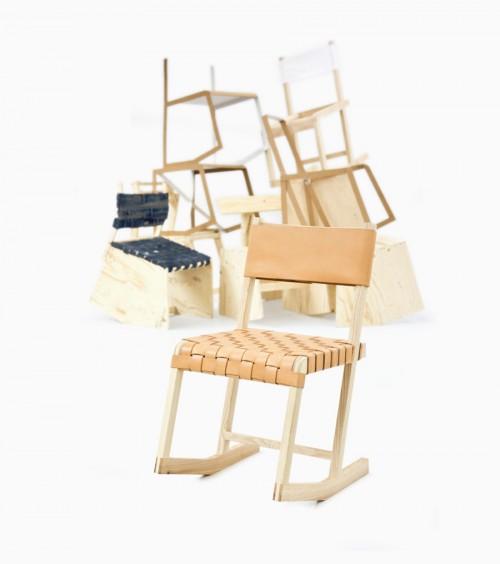 The werid concept of sitting (still) av Charlotte Arvidsson, master i möbeldesign inriktning trä. Stiligt och intressant. (Foto Steneby)