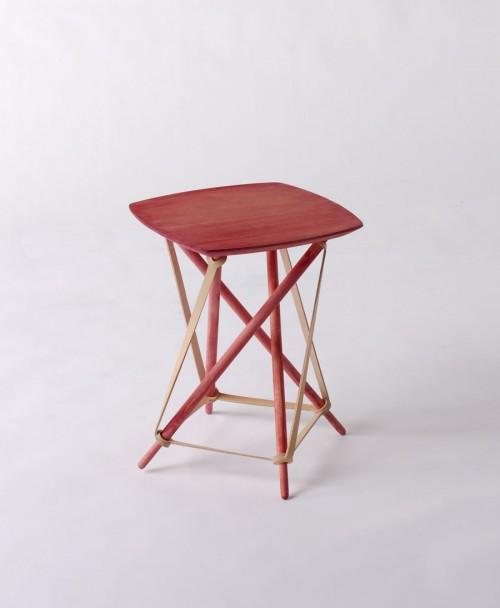 Lith Lith Lundin Furniture gör möbler med hållbarhets- och närhetstanke. Principen är att använda material inom fem mils radie, ekologiskt och nedbrytbart. Här är en möbel i läder, gran och rödbetssaft exempelvis. Mycket spännande! (Foto Kurbits)