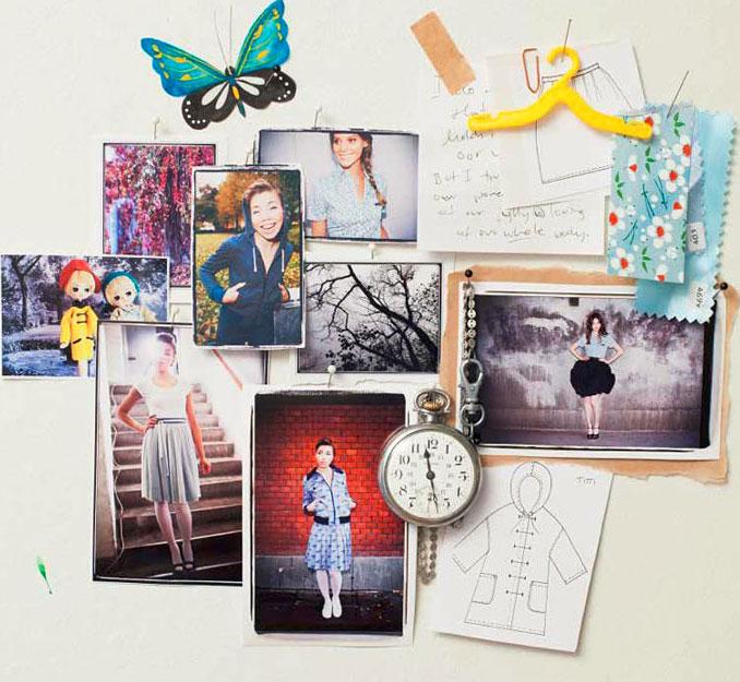 Collage ur boken - som innehåller tydliga skisser och beskrivningar, samt inspirerande modebilder på de plagg som du syr själv. Alla mönster är märkta med svårighetsgrad. (Foto ur boken/Natur och Kultur)