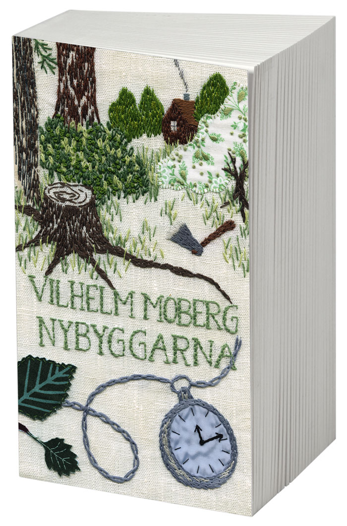 Nybyggarna av Vilhelm Moberg, broderi Karin Holmberg. (Foto Bonnier pocket)