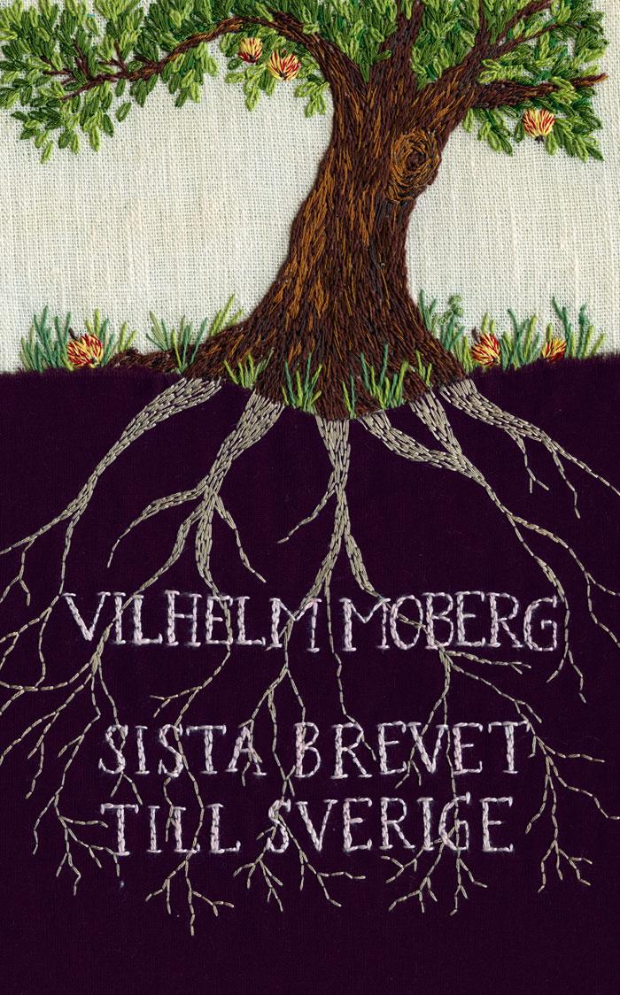 Sista brevet till Sverige, i broderi av Karin Holmberg. (Foto Bonnier pocket)
