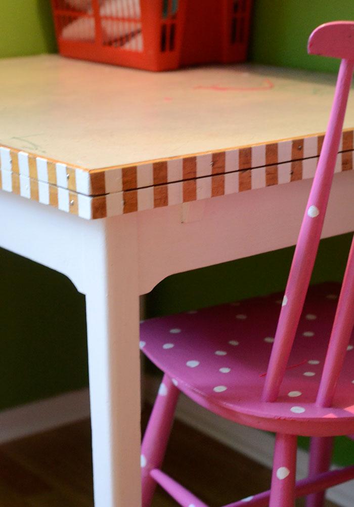 Vårt mycket hemsnickrade bord blev vårt på en städdag på gården. Det är perfekt eftersom underredets ben är avsågade för att passa ett tidigare barn. Den tidigare borsskivan blev utbytt mot den här dubbla perstorpsplattan. Nu fick den ränder för att göra det hela lite enhetligare. Eller, ja, bara lite roligare. (Foto Kurbits)