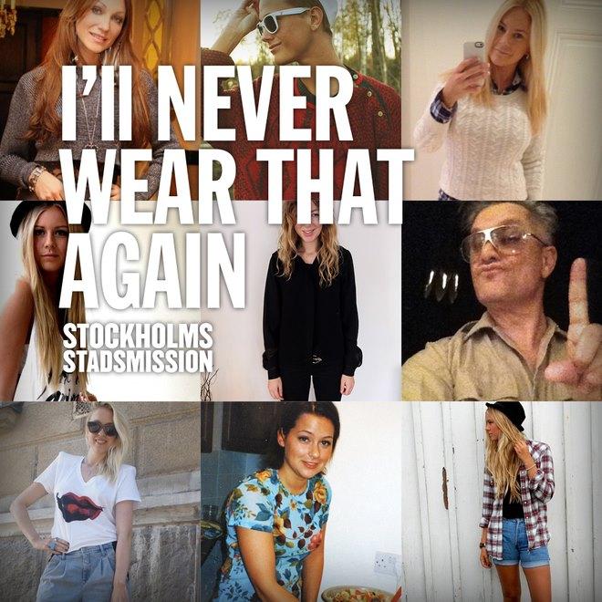 Stockholms Stadsmissions kampanj You'll never wear that again - stöds av en rad kändisar, och nära 4000 personer har laddat ner appen. Får det bort lite av alla extrakläder som ligger hemma hos folk? Återstår att se. (Foto Stockholms Stadsmission)