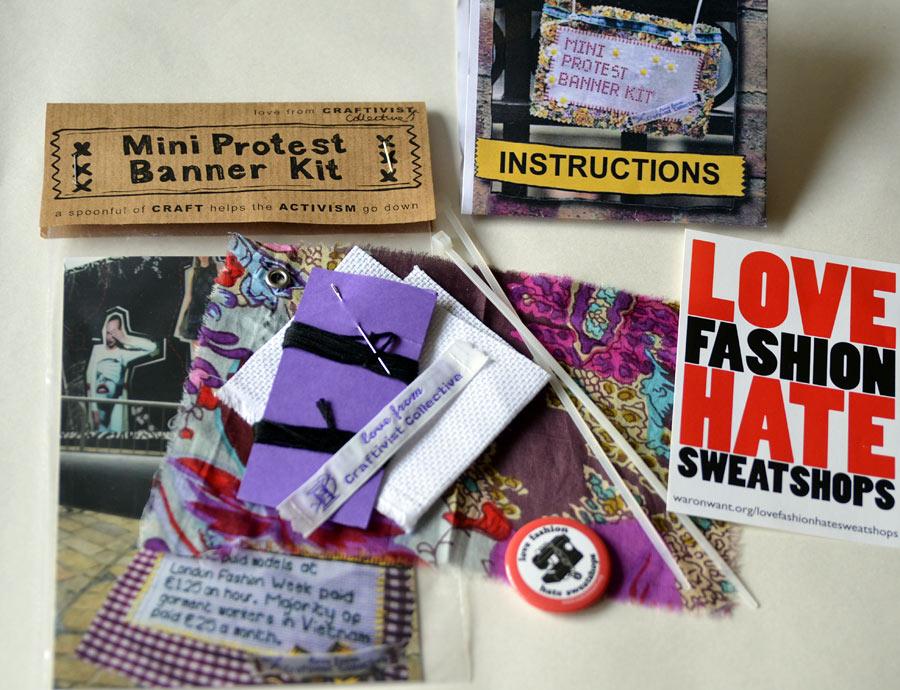 Innehållet i mitt paket från Craftivist Collective. (Foto Kurbits)