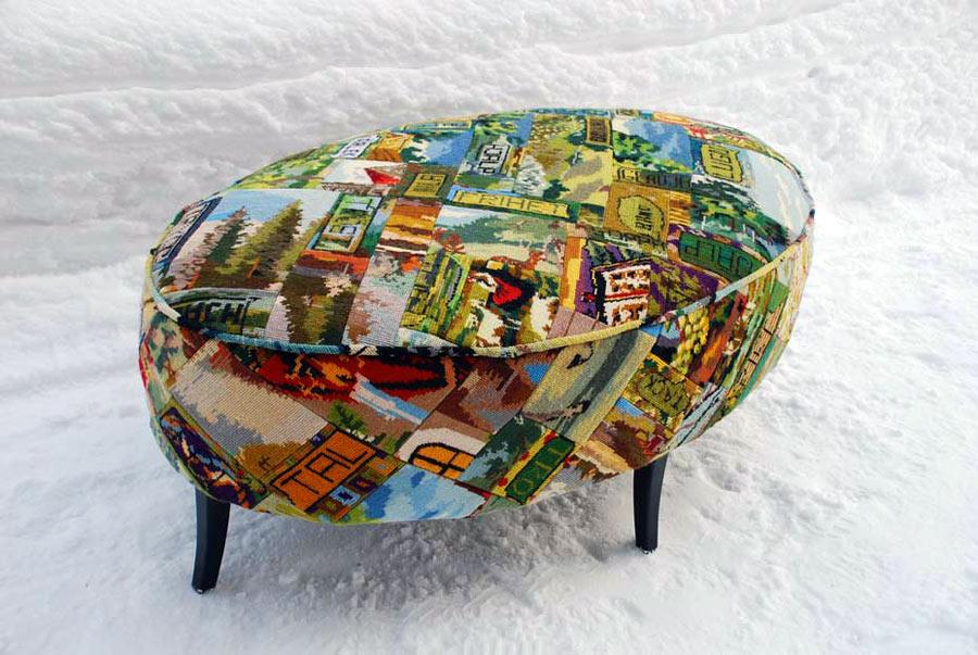 Konfirmandernas stiliga pall i färdigt skick, utställd i vintras. (Foto Stina Westerlund)