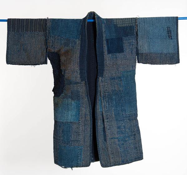 Kimono använd av en brandman. Ingår i utställningen Sashiko - japanska stygn på Murberget i Härnösand just nu. (Foto Björn Grankvist)