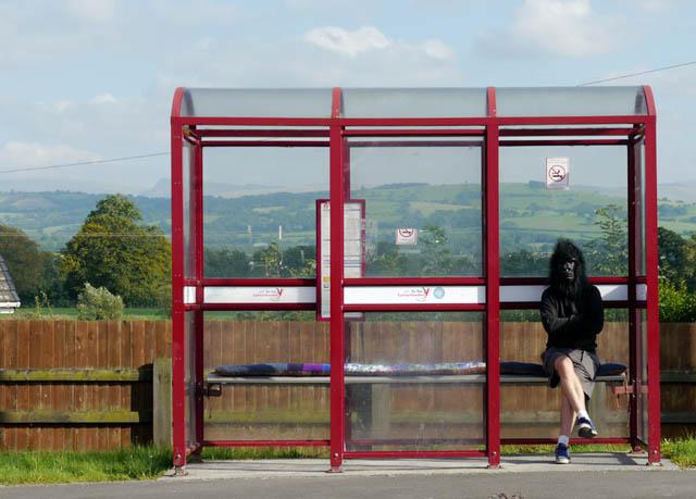 Mick gerillatapetserare sprider mjuka dynor och bekväma stolar längs waelsiska landsbygdens busskurer. (Foto BBC)
