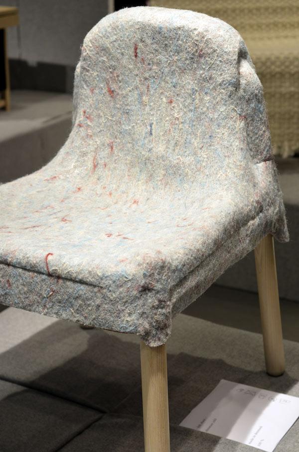 Ytterligare stol från Kunst- og designhögskolen i Bergen, också med materialet tydligt redovisat. (Foto Kurbits)