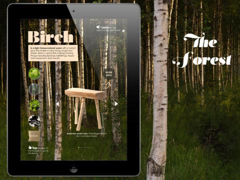 Lite inspiration ur appen - vi beskriver bland annat skogen och produkterna som kommer ur respektive träslag. (Foto ur Wood by Hemstilat)