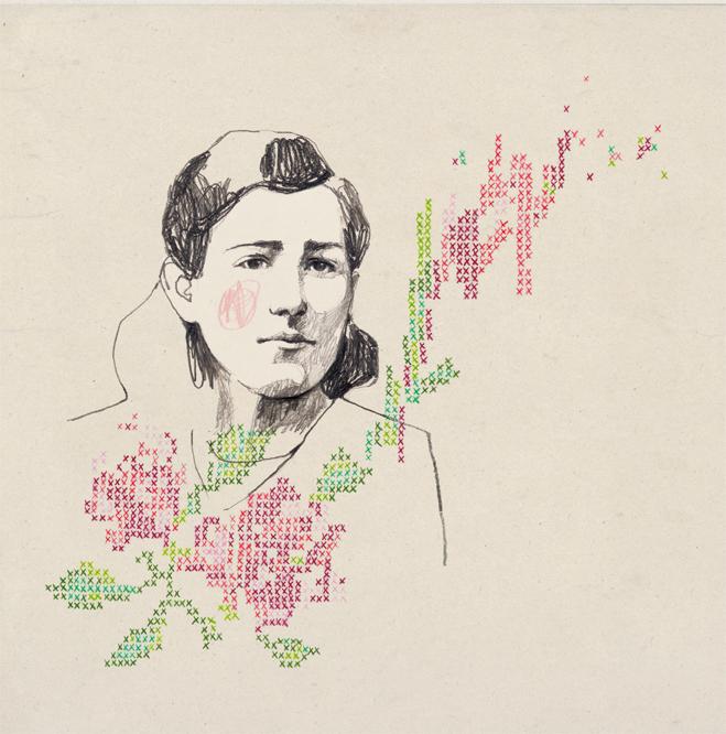 Också den här damen är riktigt ljuvlig - illustration med korsstygnskänsla, av María Hergueta. (Illustration María Hergueta)