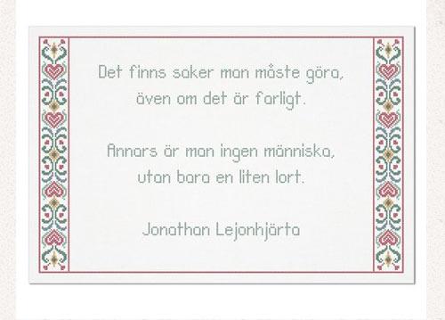Fina Jonatan...citat och bård från The Folklore Company. Bården är gjord av Svarta Fåret. (Skärmavbild från folklorecompany.com)