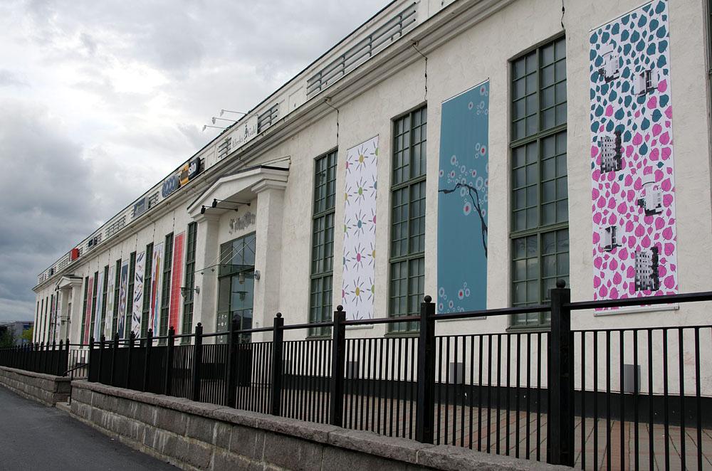 Utställningen heter Staden - från mejeri till sliperi, av tolv medlemmar i Textilmejeriet. (Foto Textilmejeriet)