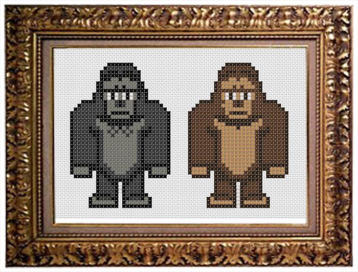 King Kong och Donkey Kong, mönster från lucka 8 och 9 i Fuldesigns pågående adventskalender. (Foto Fuldesign)