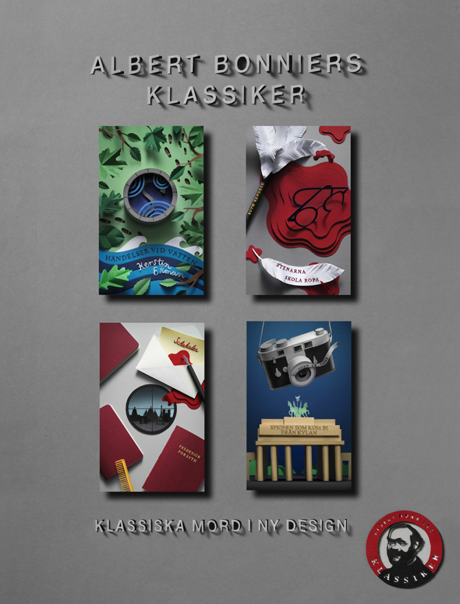 Affisch med alla de omslag Fideli Sundqvist gjort i Bonniers klassikerserie. (Foto Magnus Cramer)