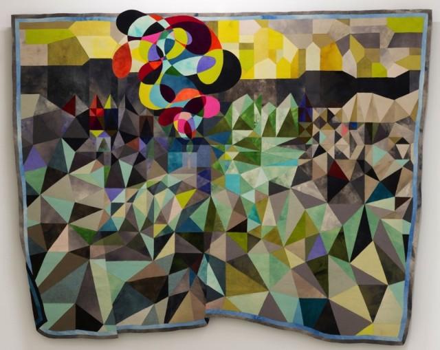 Flygende teppe, textilt verk av norska textilkonstnären Inger Johanne Rasmussen. Hennes utställning öppnar på Sven-Harrys konsthall i helgen. (Foto Kai Wilhelm Nessler)