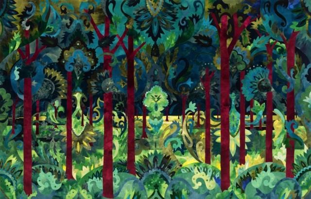 Skogen, av Inger Johanne Rasmussen, i utställningen Textil intarsia, Sven-Harrys konsthall. (Foto Knut Bry)