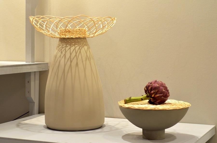 Från montern Naturalist, där 18 ryska produktformgivare fångat naturens former och material. Här keramik och vide av Olesya Ananyeva och Anastasiya Koshcheeva. (Foto Kurbits)