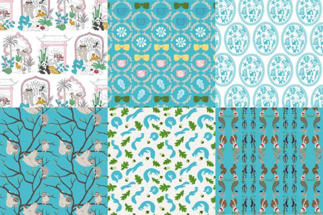 Gruppens förkollektion, som består av alla olika formspråk hållna i gemensam färgskala och  gemensamt tema. (Bild collage från Swedish Creatures)