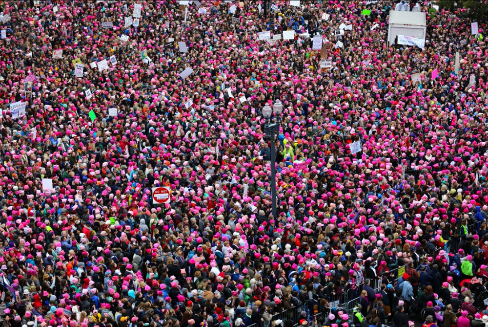Bild från det rosa havet, från Womens march, 21 januari i Washington. (Foto pussyhatproject.com)