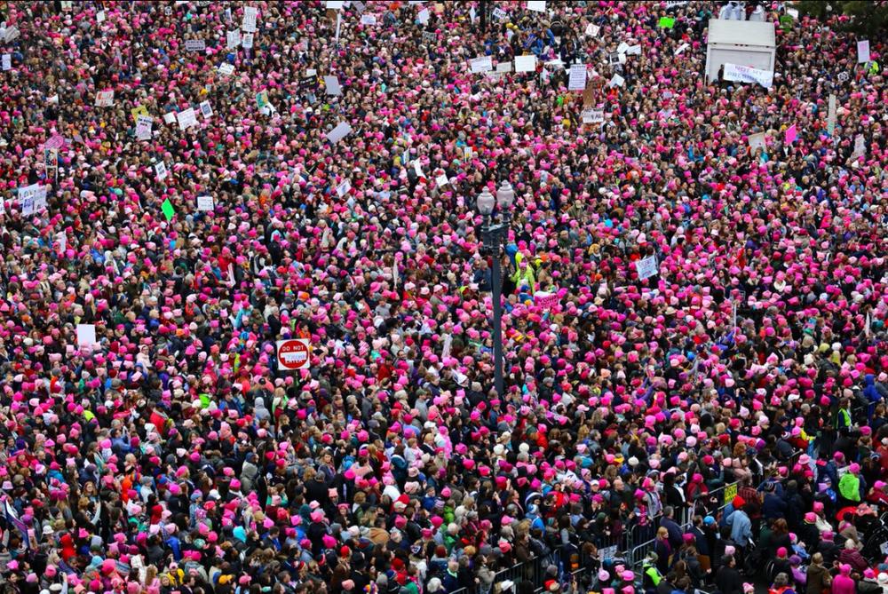 Bild från det rosa havet, från Womens march, 21 januari i Washington. (Foto pussyhatproject.com)