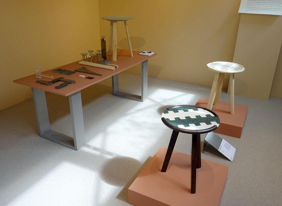 Jim Claesson Zsuppan har också han hjälp av hantverkskunskapen, där han i sitt projekt använt befintligt spill från en möbelproducent och tillverkat bord i linje med deras ordinarie produktion. (foto Kurbits)