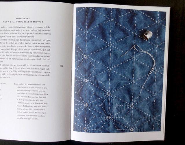 Moyo-sashi, ett av sashikons mönster med räta linjer som med stygnen bilder mönster. (Foto uppslag ur boken/Kurbits)